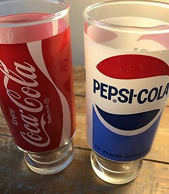 Vintage Coca Cola And Pepsi Cola Glasses