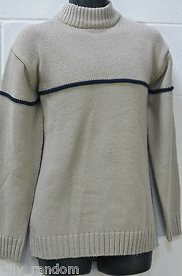 Mens Beige Long Sleeved Chunky Knit Jumper From Cedarwood State UK Size M