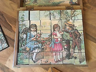 Antique 1900's Victorian 6-Sided Wood Block Litho 6 Puzzles & 3 Cards With Box