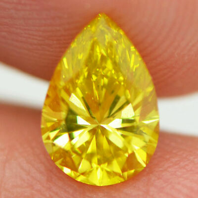 GIA Certified Pear 0.92 Carat Fancy Yellow Enhanced VS2 Loose Diamond For Ring