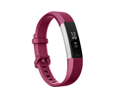 Fitbit alta HR heart Rate Fitness Wristband Fuchsia/Stainless Steel Brand New