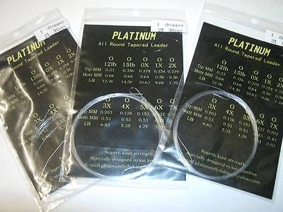 (Pack of 10) Platinum 9 feet tapered leaders 5lb  with a loop (easy connection)