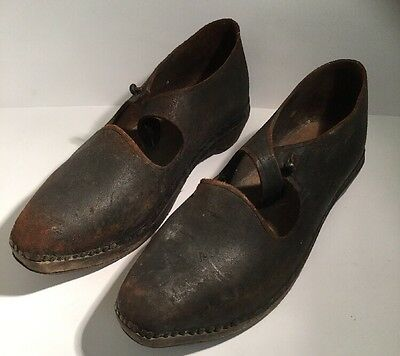 Antique Victorian Leather Large Shoes / Clogs with Wooden Sole & Metal / Iron