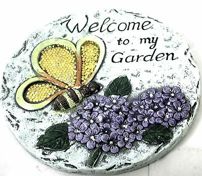 Summer Home Stepping Stone Circle Concrete Sequin Decor Welcome To My Garden