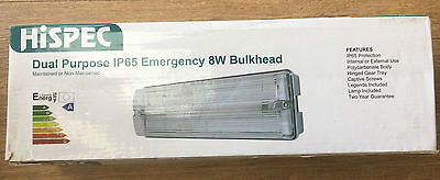 Hispec Ip65 Emergency Lighting 8W Bulkhead Maintained Or Non Maintained