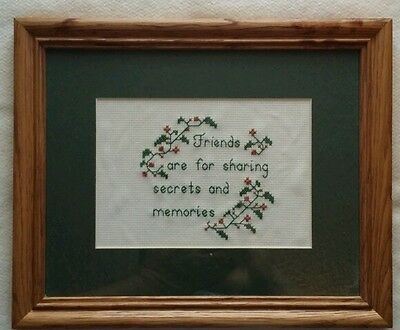 Cross Stitch Quote Friends Floral Saying Finished Framed Completed Matted 11 x 9
