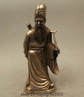 "10""Chinese Myth Folk Feng Shui Silver Eight Immortals Zhang Guo Lao Statue"