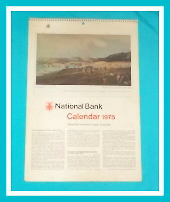 NATIONAL BANK CALENDAR 1975 -  Fully Intact Suburban Scenes Early Australia