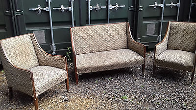 Early 20th century / Edwardian dark wood suite: sofa and two matching armchairs