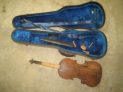 Vintage Full Size 4/4 Violin Project Instrument For Parts Or Repair