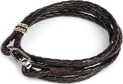Paul Smith Bracelet - NEW Brown Double Wrap Leather Wristband/RRP: £99.00