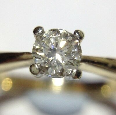 9ct Yellow Gold 0.25 Carat Diamond Solitaire Engagement Ring UK Size L
