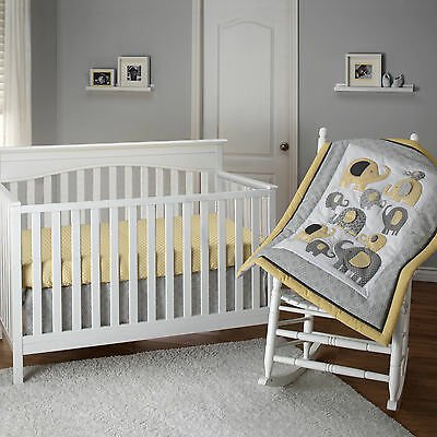 Baby Crib Bedding Set Elephant 3-Piece Yellow Boys Nursery Comforter Bed Skirt