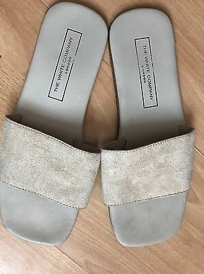 The White Company All Suede & Leather Slippers Sz 5/38