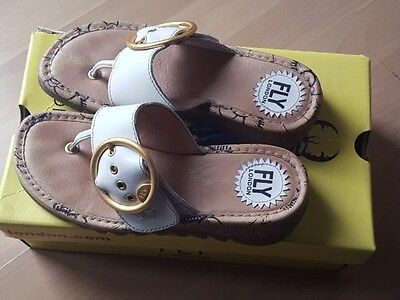 Fly London Ladies Womens Flip-Flops Leather  Size 37  Trim  Offwhite