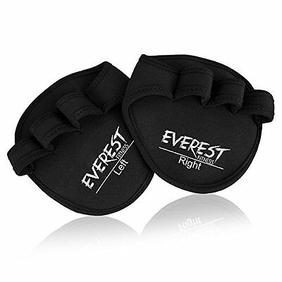 EVEREST FITNESS Weight Lifting Gym Gloves one pair of black padded real leather