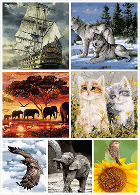 Paint By Number Kit On Canvas Wolf Cat Elephant Eagle Bird Africa Sailing