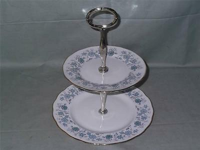 Colclough Braganza Bone China 2-Tier Hostess Cake Plate Stand Patt. 8454