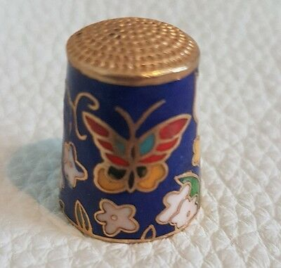 Chinese Cloisonne Thimble Butterflies Blue Ground
