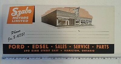 "Rare Excellent ""ford Edsel-Szabo Motors- Hamilton Ont"" Advertising Ink Blotter"