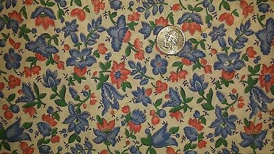 """Vintage Feedsack Floral Pink Blue Green White- Approx. 36""""x42"""""""