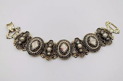 Vintage Selro Style Gold Tone Bracelet With Simulated Pearls And Mop Inserts