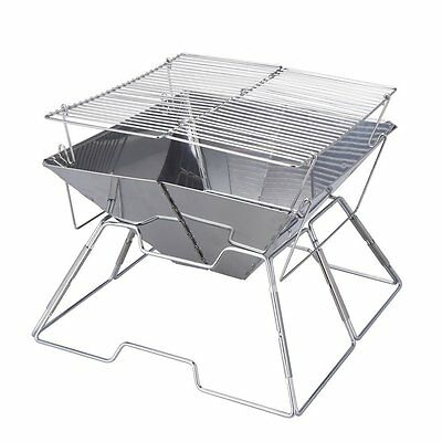 Folding Grill BBQ Foldable Portable Picnic Camping Steel Large Size 44x44x28cm