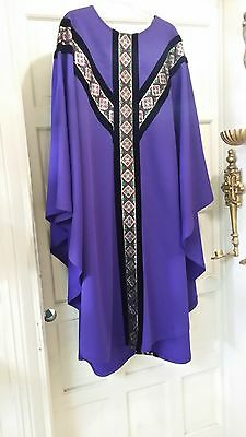 Vintage Liturical Clergy Chasuble Vestment Purple W/brocade & Black Velvet