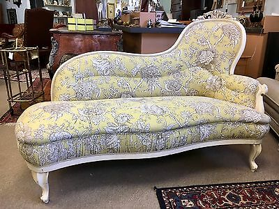 "Antique French Louis XVI Chaise Longe Lounge Settee Upholstered 64""W"