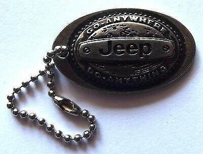 "Old JEEP ""Go Anywhere Do Anything"" Metal Key Chain Fob Badge"