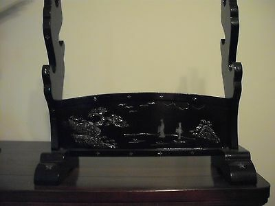 Vintage Japanese Lacquer Katana Kake with Mother-of-Pearl