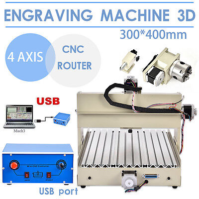 4AXIS 3040 CNC Router Engraver Engraving Drilling Milling Machine USB Port USA