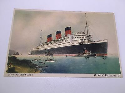 Pair Colour Postcards Paquebot RMS Queen Mary. Dated 1936 and 1958