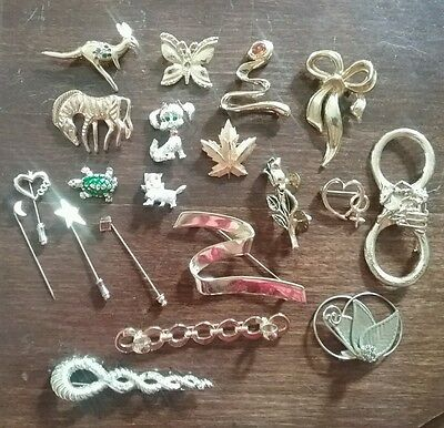 Vintage lot of 20 brooches stick hat pins gold tone metal dog cat butterfly