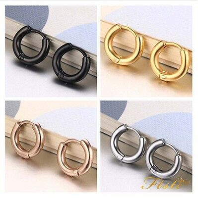 Fashion Men's Simple Punk Cool Round Ear Halo Hoop Titanium Steel Earrings Gift