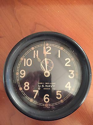 "Antique Chelsea U. S. Navy Maritime WW2  Ships Clock 8 1/2"" Dial W/ Key"