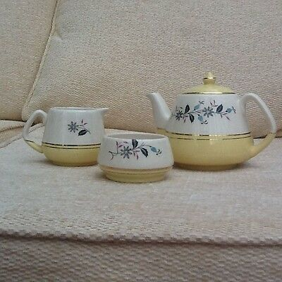 Vintage Keele St. Pottery 'Talk of the Town' Teapot, Sugar Bowl and Cream Jug