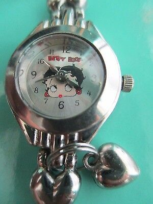 Betty Boop Vintage Stain/steel Watch W Heart Link Bracelet Rare New Battery Mint