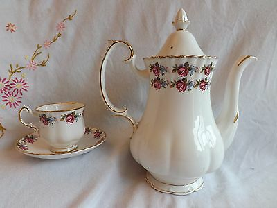 Beautiful Vintage Royal Sutherland Rosebud Large Coffee Pot And Coffee Duo