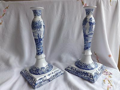 Beautiful Spode Blue Italian Design  Large Candle Sticks