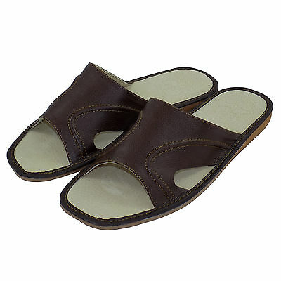 New Mens Slippers, Sandals, Flip Flops, Brown - Leather Size 12 (EUR 46)