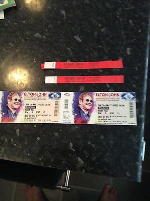 2 X Used Tickets And Pitch Seating Arm Bands Elton John Widnes Concert 2017
