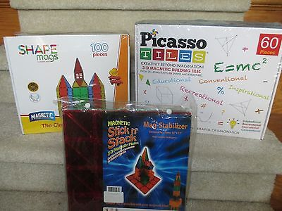 Play Mags 100 pc +  Picasso Magnetic Tiles 60 pc + Two  Magnetic Stabilizers -