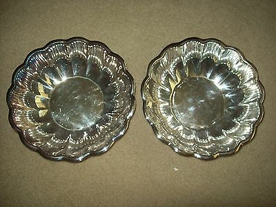 Lot of 2 Reed & Barton  #175 Scalloped Silver Serving Bowl / Snack Dish