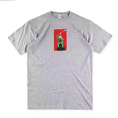 New Fashion Supreme Men's Round Neck Short Sleeve Gray Size L T-shirt/Top/Tee