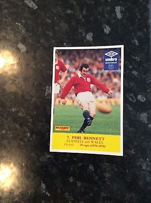 Postcard Size Photo Of Phil Bennett 1981 Issued By Rugby World Magazine