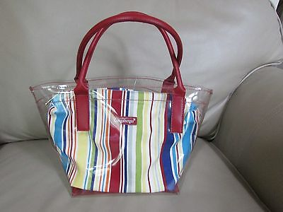 Longaberger SUMMER STRIPED REMOVABLE INSERT TO CLEAR SEE-THRU HANDBAG-NWOT