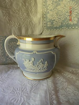 Antique Vtg English Pitcher 6 Cup Lavender White Grecian Relief Cherub Chariot