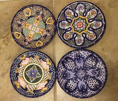 NEW 4PC Pottery Barn Del Sol Melamine Salad Plate Mixed Set **small Issue**