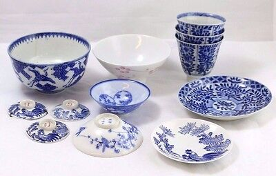 Lot of 12 Antique Blue and White Chinese Porcelain Bowls and Cups